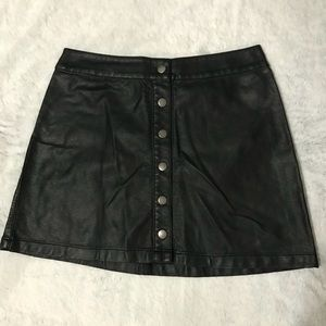 Black Leather Mini Skirt with Buttons